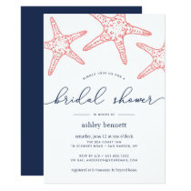 Coral & Navy Starfish Bridal Shower Invitation