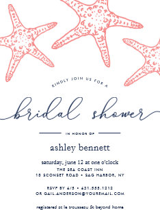 Navy bridal shower invitations announcements zazzle coral navy starfish bridal shower invitation filmwisefo Image collections