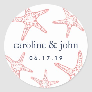 Beach Themed Coral & Navy Starfish Personalized Wedding Classic Round Sticker