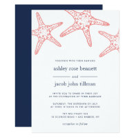 Coral & Navy Starfish Wedding Invitation