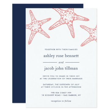 Beach Themed Coral & Navy Starfish Wedding Invitation