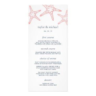 Beach Themed Coral & Navy Starfish Wedding Menu Card