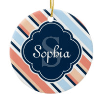 Coral Navy Tilted Stripe Pattern Ceramic Ornament