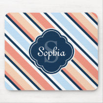 Coral Navy Tilted Stripe Pattern Mouse Pad