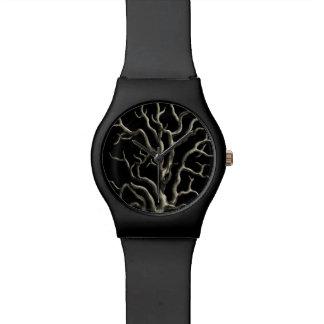 Coral negro y del moreno relojes de pulsera