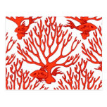 coral note card post cards