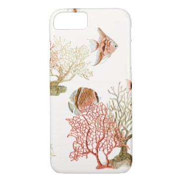 Beach Themed Coral Ocean Beach Angel Fish Watercolor Striped iPhone 7 Case