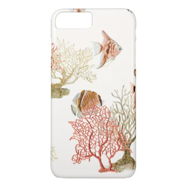 Beach Themed Coral Ocean Beach Angel Fish Watercolor Striped iPhone 7 Plus Case