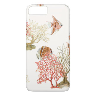 Coral Ocean Beach Angel Fish Watercolor Striped iPhone 8 Plus/7 Plus Case