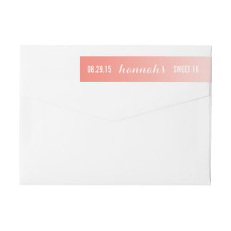 Coral Ombre Gradient Sweet 16 Return Address Wrap Around Label