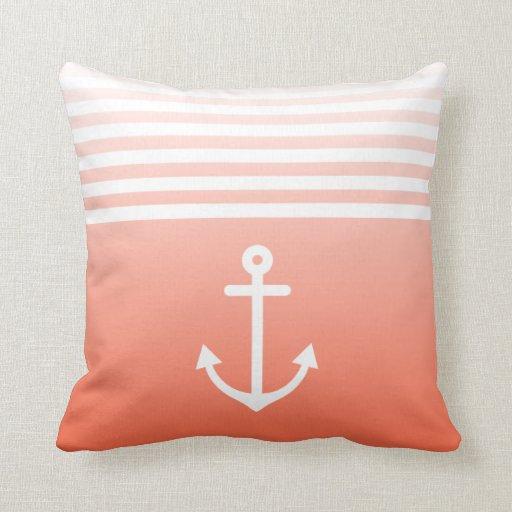 Coral Ombre Nautical Throw Pillows