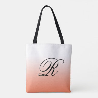 Coral Ombre Over Any Color with Monogram Tote Bag