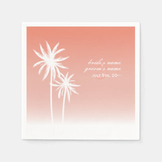 Coral Ombré Palm Trees Beach Wedding Napkins Disposable Napkin