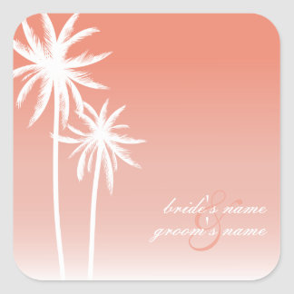 Coral Ombré Palm Trees Beach Wedding Sticker