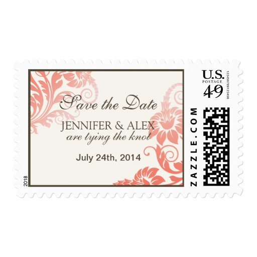 Coral Ombre Wedding Postage