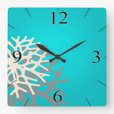 Beach Themed Coral on the Beach | blue grey ivory Square Wall Clock