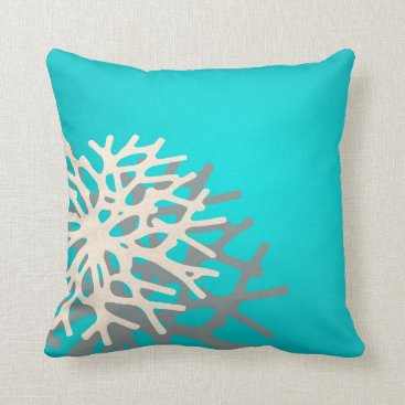 Beach Themed Coral on the Beach | blue grey ivory Throw Pillow