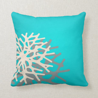 Coral on the Beach | blue grey ivory Throw Pillows