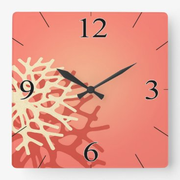 Beach Themed Coral on the Beach   peach coral ivory Square Wall Clock