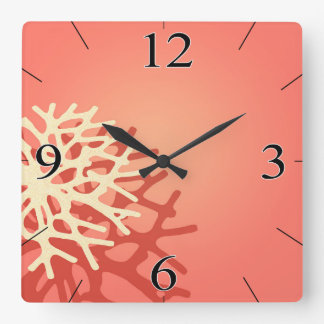 Coral on the Beach | peach coral ivory Square Wallclock