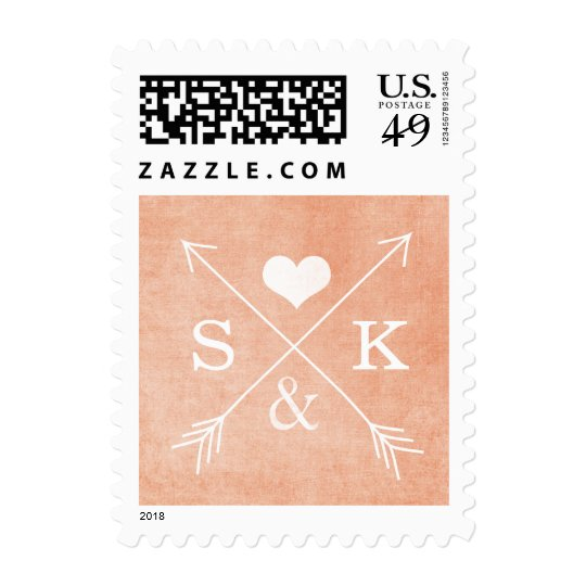 Coral or Peach Heart Arrows Initials Stamp