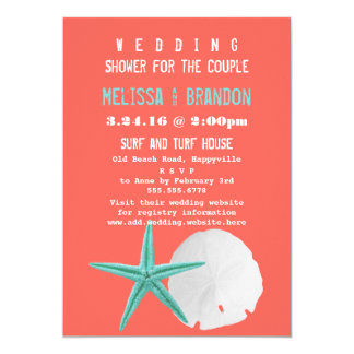 Coral Orange and Blue Beach Shells Wedding Shower Card