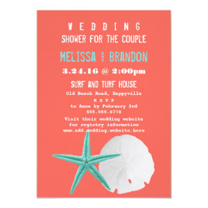 Coral Orange and Blue Beach Shells Wedding Shower 5x7 Paper Invitation Card
