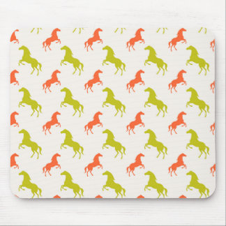 Coral Orange and Sage Green Horse; Equestrian Mouse Pad