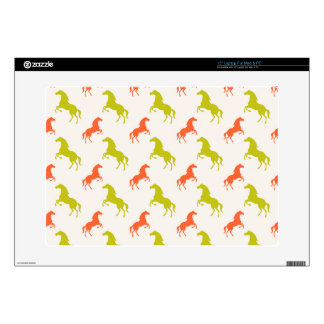 Coral Orange and Sage Green Horse; Equestrian Skins For Laptops
