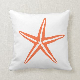 Coral Orange and White Starfish Pillow