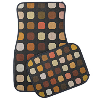 Coral Orange Brown Retro Chic Round Square Pattern Car Mat