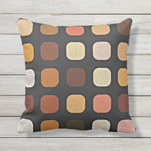 Coral Orange Brown Retro Chic Round Square Pattern Outdoor Pillow