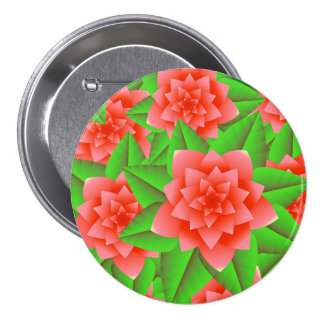 Coral Orange Camellias and Green Leaves 3 Inch Round Button