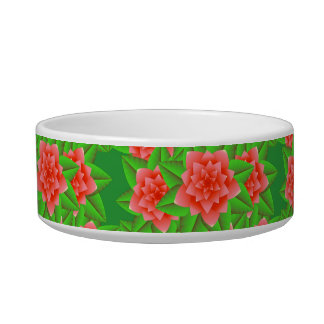Coral Orange Camellias and Green Leaves Bowl