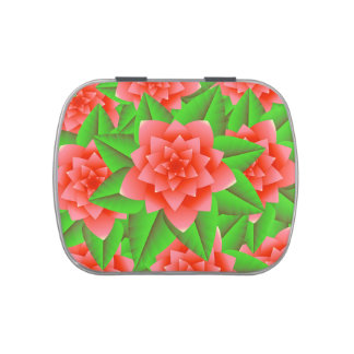 Coral Orange Camellias and Green Leaves Candy Tins
