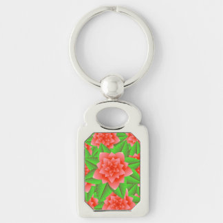 Coral Orange Camellias and Green Leaves Keychain