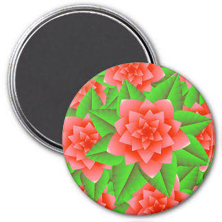 Coral Orange Camellias and Green Leaves Magnet