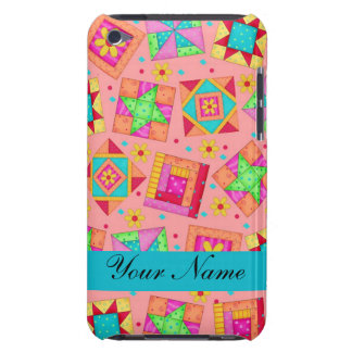 Coral Orange Colorful Quilt Blocks & Personalized Case-Mate iPod Touch Case