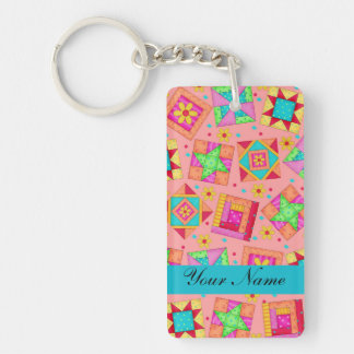 Coral Orange Colorful Quilt Blocks & Personalized Keychain
