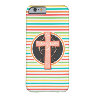Coral Orange Cross; Bright Rainbow Stripes Barely There iPhone 6 Case