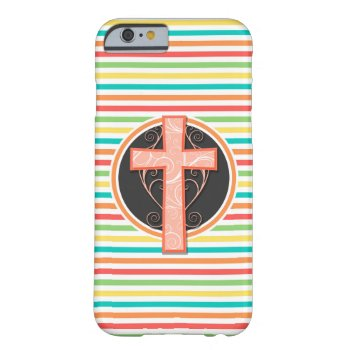 Coral Orange Cross; Bright Rainbow Stripes Barely There Iphone 6 Case by doozydoodles at Zazzle