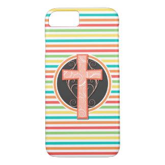 Coral Orange Cross; Bright Rainbow Stripes iPhone 7 Case