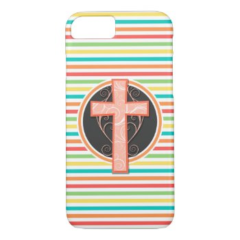 Coral Orange Cross; Bright Rainbow Stripes Iphone 7 Case by doozydoodles at Zazzle