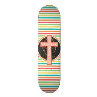 Coral Orange Cross; Bright Rainbow Stripes Skateboard Deck