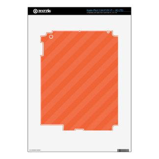 Coral Orange Diagonal Stripes iPad 3 Skins