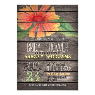 Coral Orange Flower on Rustic Wood Bridal Shower Card