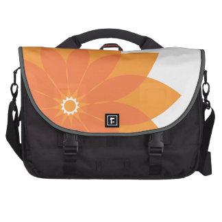 Coral Orange Flower on White Laptop Bags