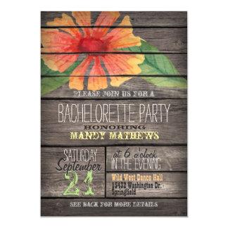 Coral Orange Flower; Rustic Bachelorette Party 5x7 Paper Invitation Card