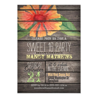 Coral Orange Flower; Rustic Wood Sweet 16 Party Card