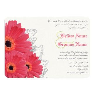 Coral & Orange Gerber Daisy Wedding Invitation